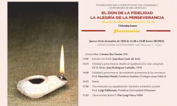 """Presentación on line del documento """"El don de la fidelidad, la alegría de la perseverancia"""" de la CIVCSVA"""